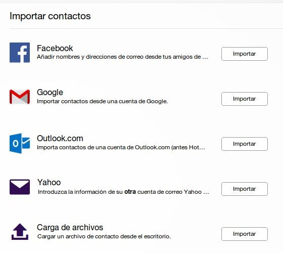 Importar emails con Yahoo desde Facebook