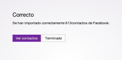 Contactos importados desde Yahoo