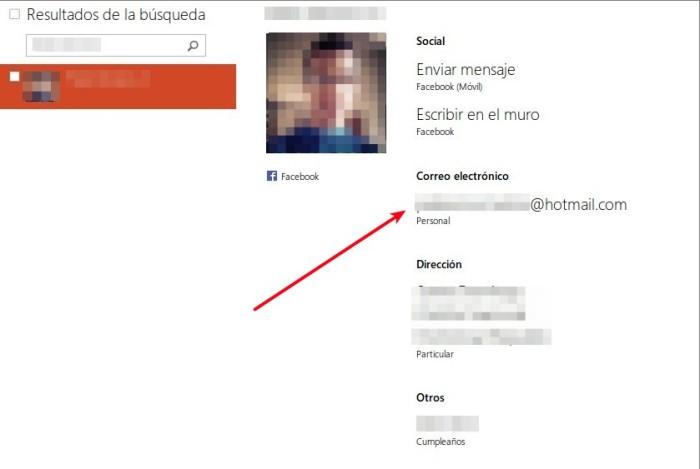 Email importado desde Facebook